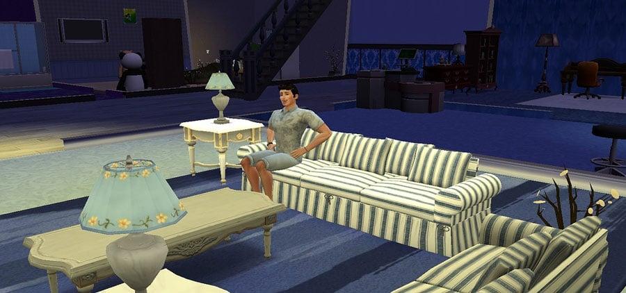 Entorno virtual con un personaje en una sala