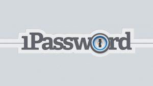 """Logo de la aplicación. Escribe """"1password"""" con letra negra y fondo gris."""