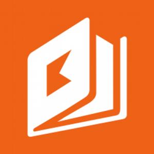 Logo de la aplicación. Es el icono de un libro color blanco con fondo color naranja.