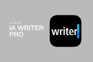 """Logotipo de la aplicación. Tiene fondo negro, y escribe """"Writer"""" en letra blanca, acompañada por una línea azul vertical"""