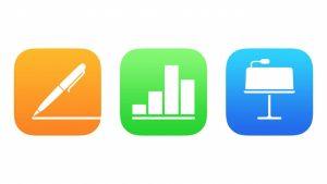 Logos de tres aplicaciones incluidas en la suite. Una color naranja, otra color verde, otra color azul.