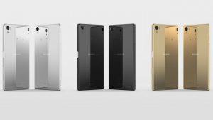 Celulares Xperia Z5 de colores negro, plata y dorado