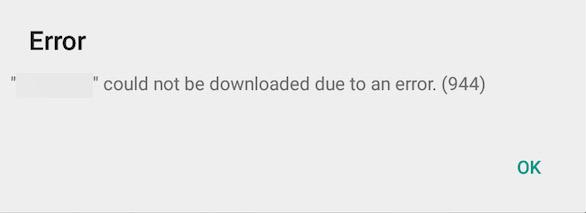 Error 944 de Google Play