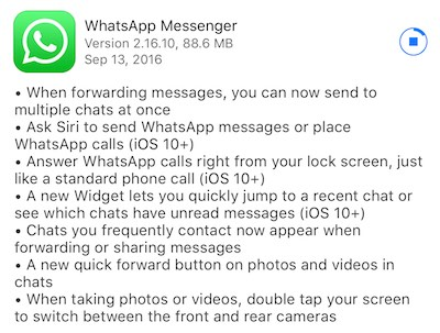 WhatsApp iOS 10
