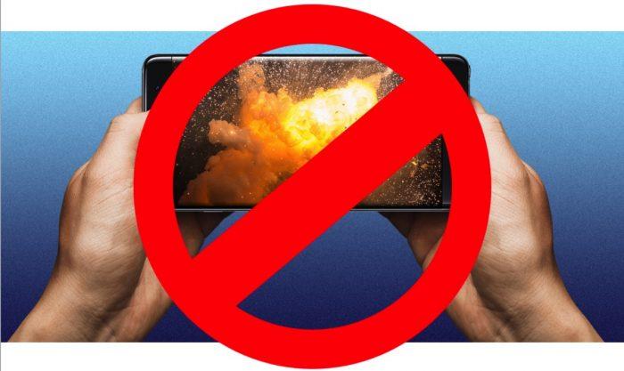 Transportar un Galaxy Note 7 por vía aérea es ilegal