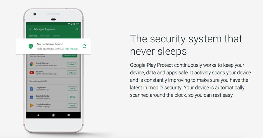 Sistema de Seguridad Google Play Protect Scan