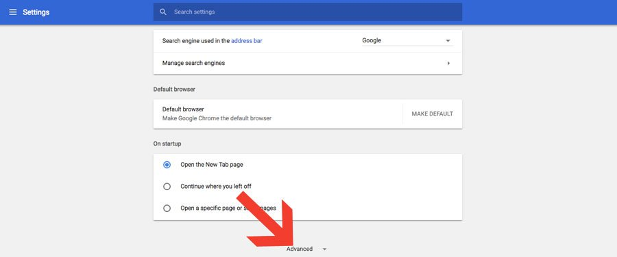 Ir a opciones avanzadas de configuración Google Chrome