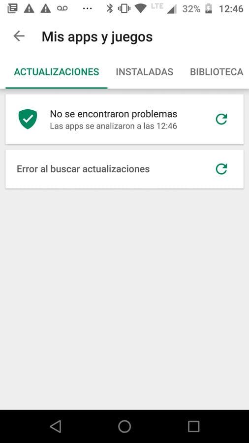 Error al buscar actualizaciones de apps