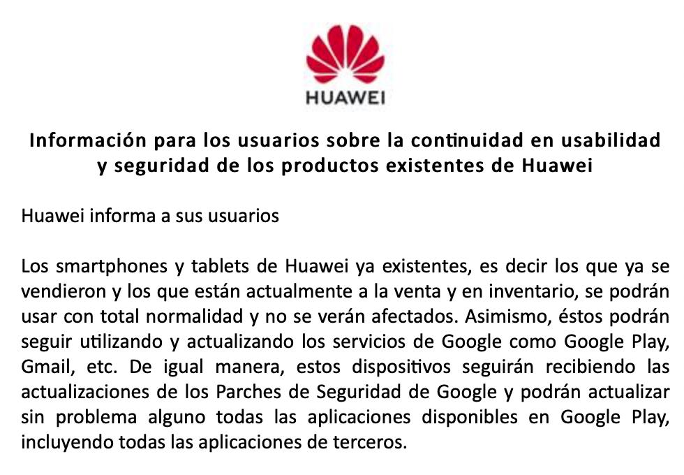 Comunicado de Huawei respecto a la situación con EEUU
