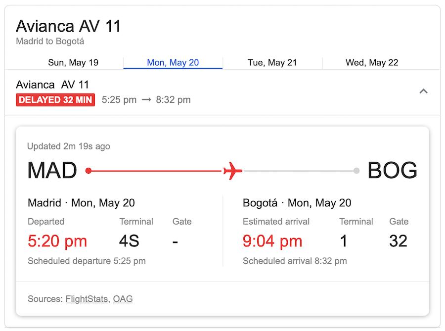 Vuelvo de Avianca entre Madrid y Bogotá