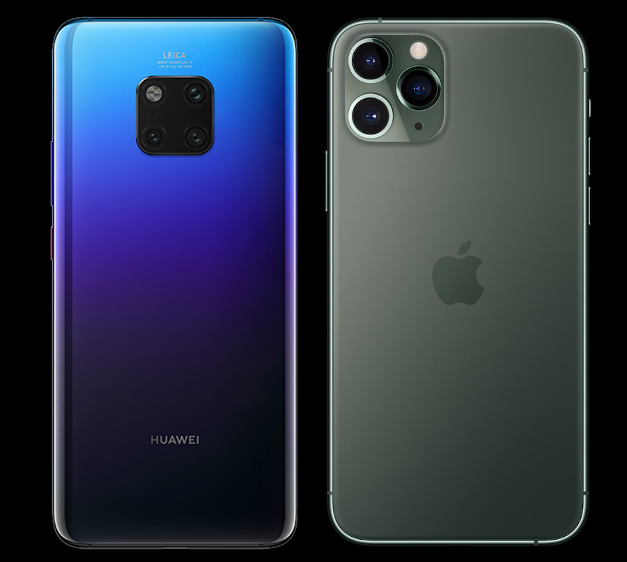 Huawei Mate 20 Pro y un iPhone 11 Pro Max