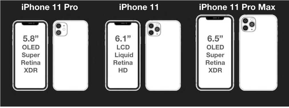 Los diferentes tamaños de los miembros de la familia del iPhone 11