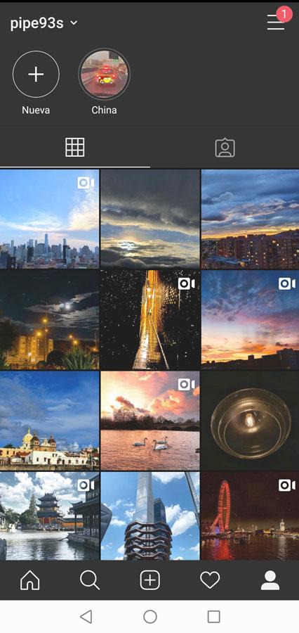 Así se ve el modo oscuro de Instagram en Huawei P30 pro con Emui 10
