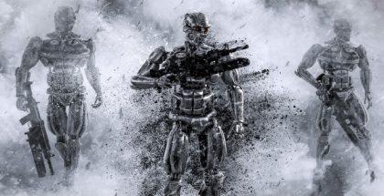 Robots con forma de humanos, con apariencia amenazante, armados y sobre un fondo tipo neblina.