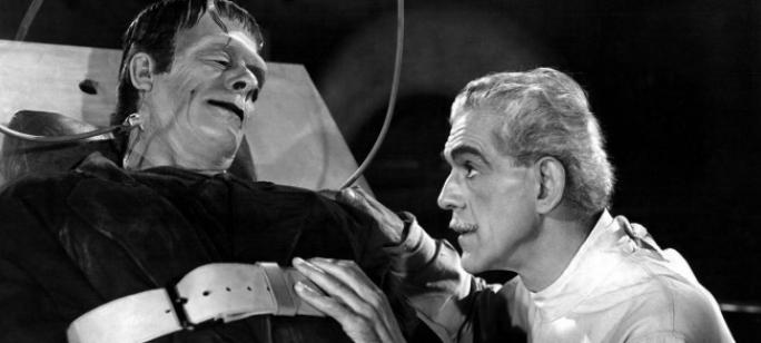 Escena de película de Frankenstein