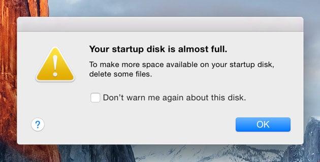 Alerta del Mac que indica que queda poco espacio en la memoria del PC.