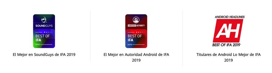 Premios entregados a los Freebuds 3 de Huawei en IFA 2019