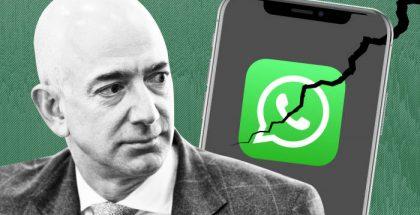 Imagen de Jeff Bezos, con un celular roto que hace referencia al hackeo