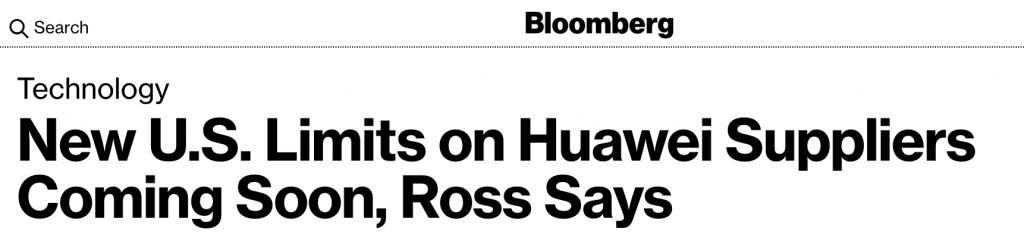 Titular de noticias de tecnológicas donde se mencionan que EEUU le puso nuevos límites a los proveedores de Huawei.
