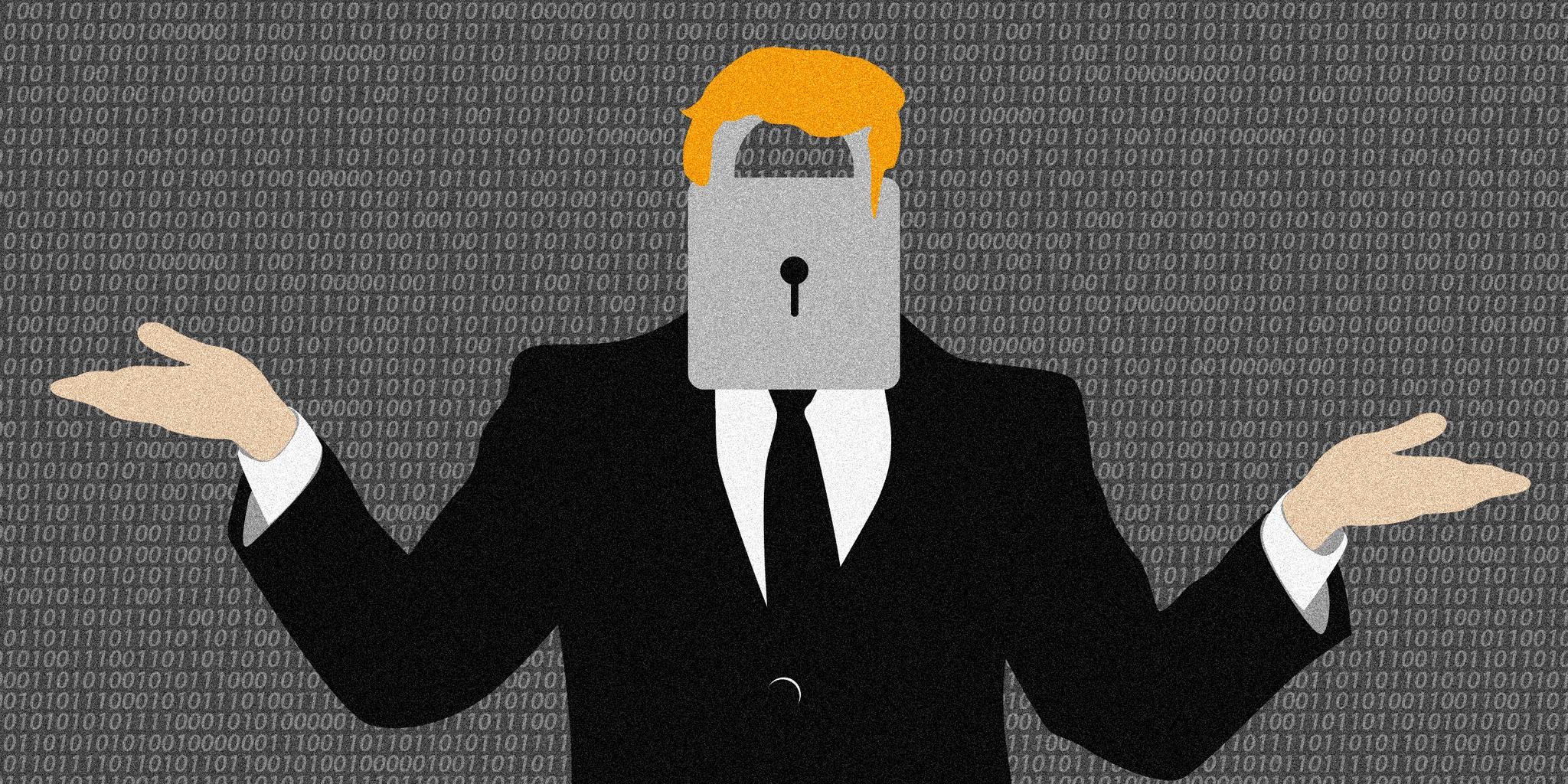 Caricatura de hombre de cabello rubio, con traje, y con un candado en el lugar de la cara.