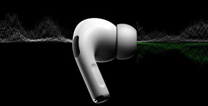 Un audífono inalámbrico de Apple color blanco del que salen ondas sonoras.