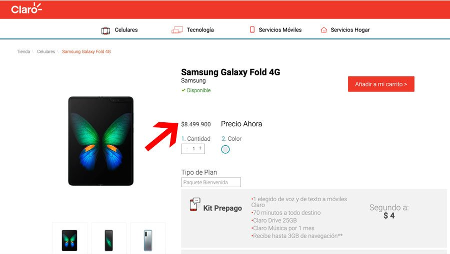 Screenshot de la plataforma de Claro con la venta del Samsung Galaxy Fold 4G y su precio en Colombia.