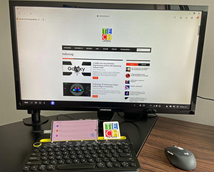 Función de extender el escritorio del Note 10 y usarlo como un computador.