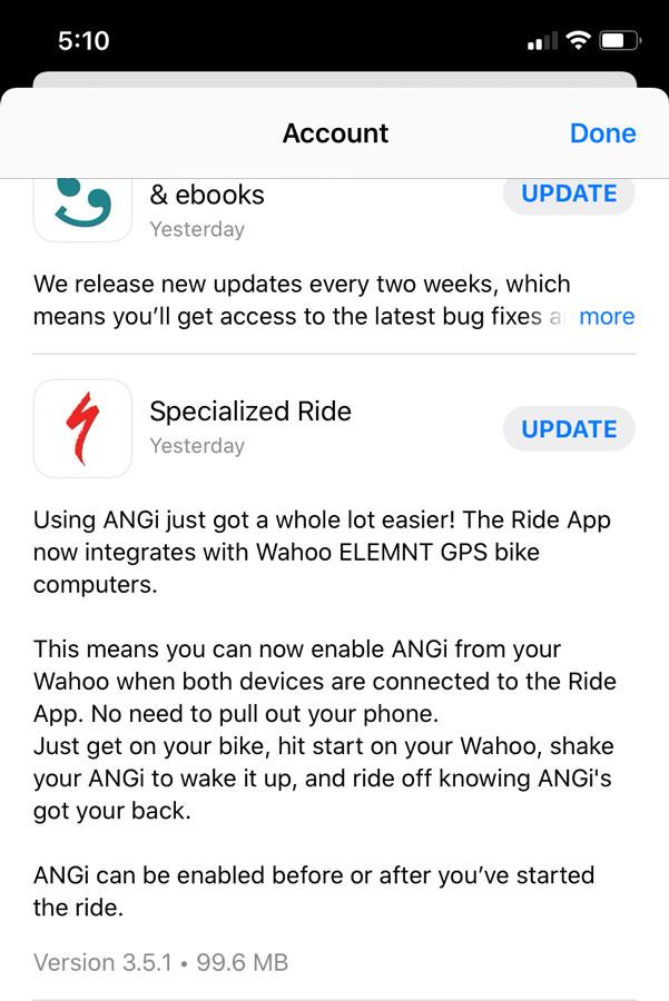 Actualización recibida para la App de Specialized Ride