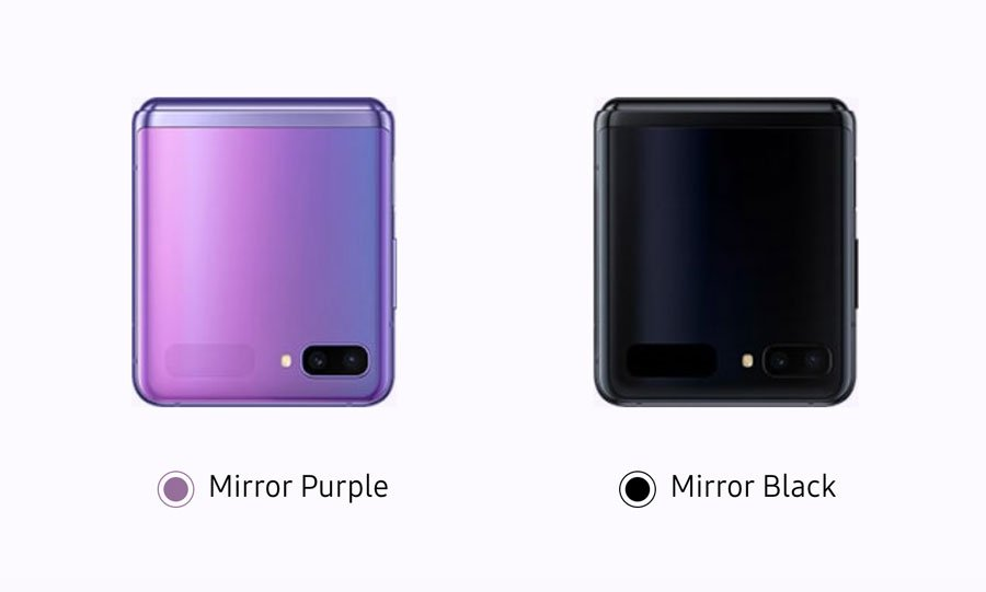 Celulares Galaxy Z Flip doblados y en sus colores Mirror Purple y Mirror Black.