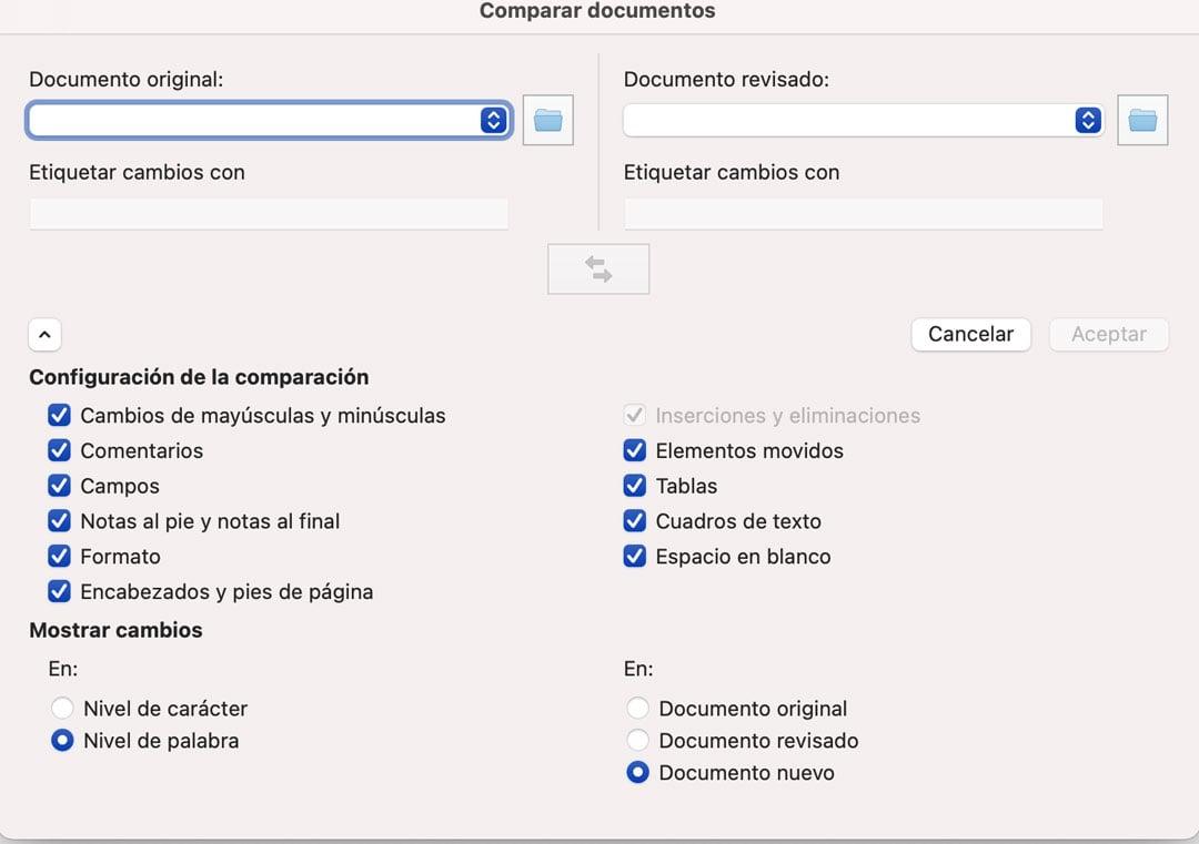 Opciones para comparar documentos en Word