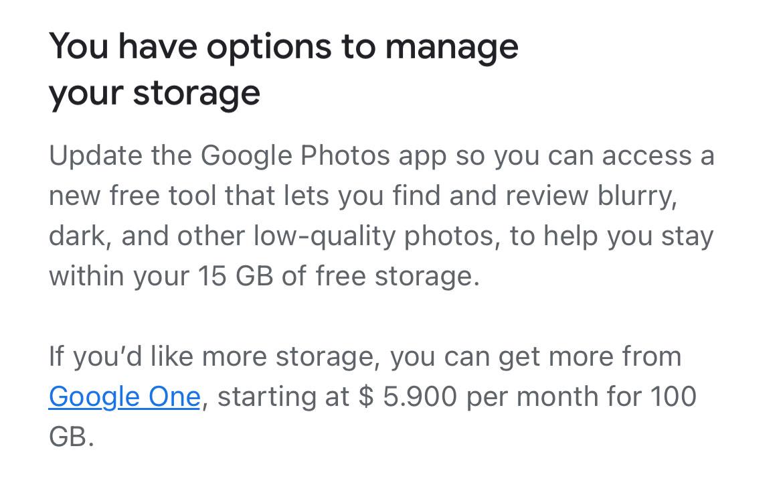 Opciones para obtener almacenamiento en Google Photos