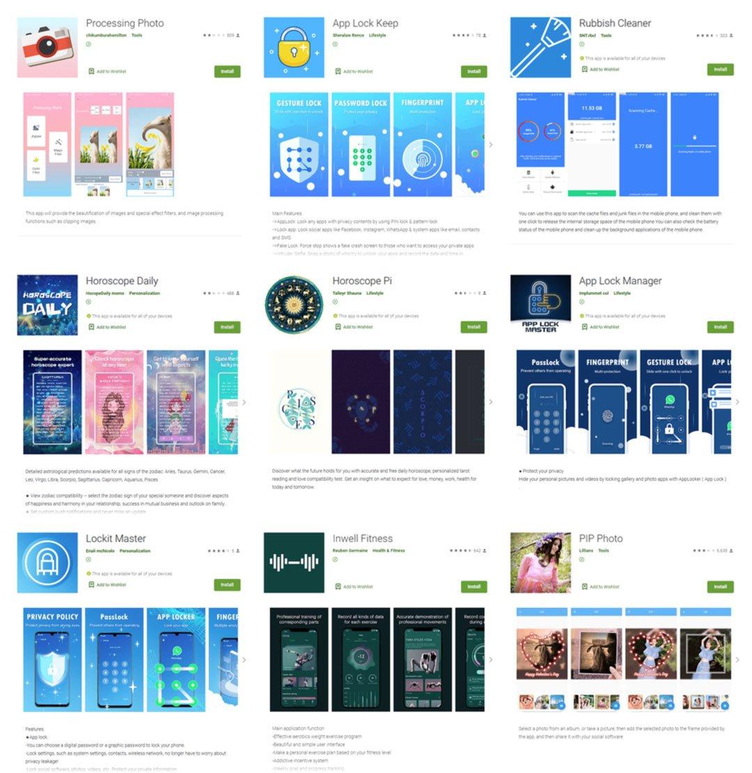Algunas de al apps que intentaban robarse las credenciales de Facebook de los usuarios de Android