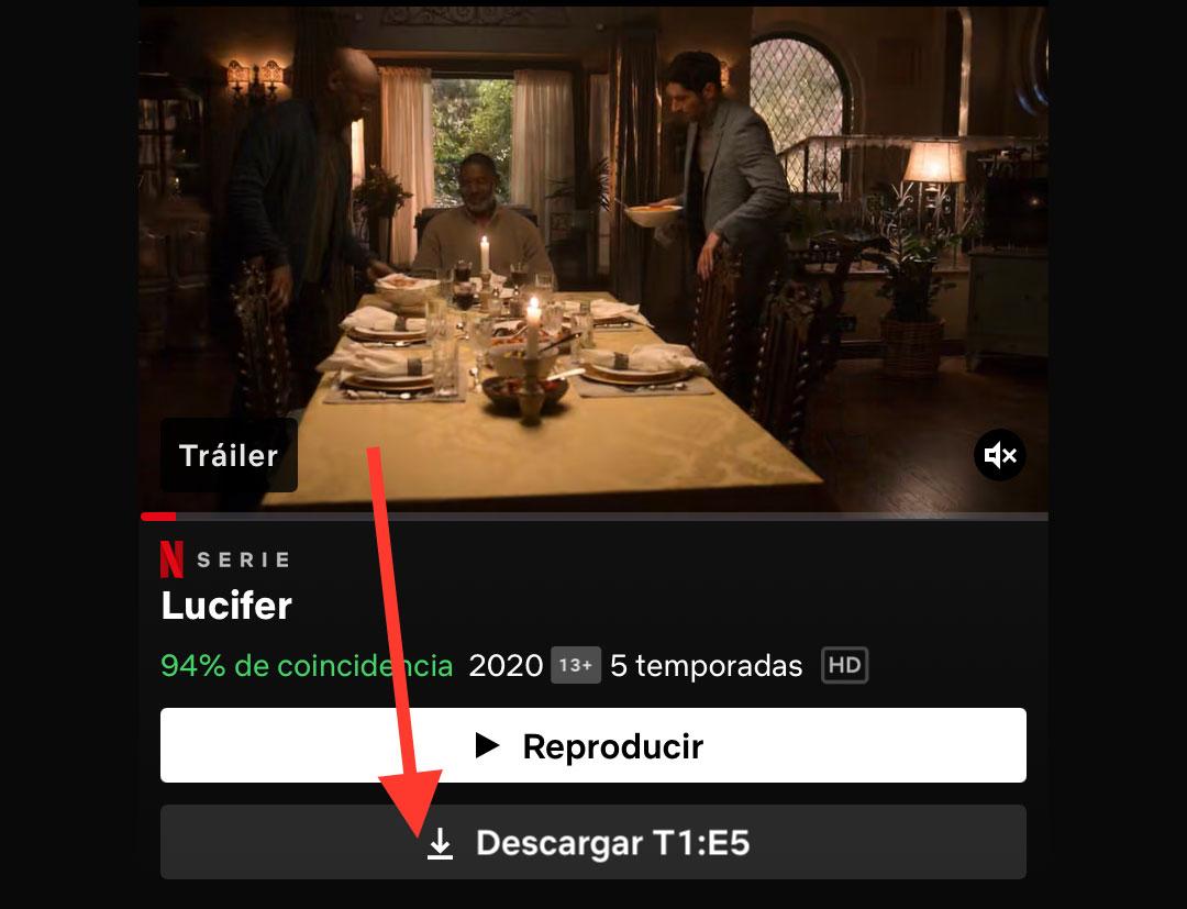 Descargar en películas o capítulos en Netflix