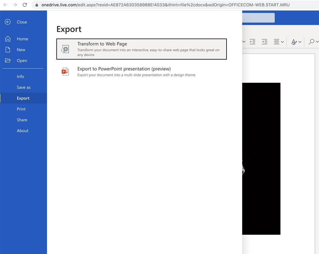 Exportar el documento como una presentación de PowerPoint