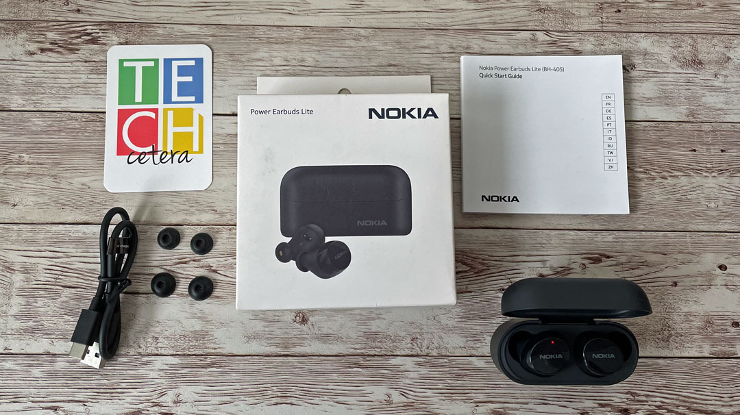 Los contenidos del paquete de los Nokia Power Earbuds Lite