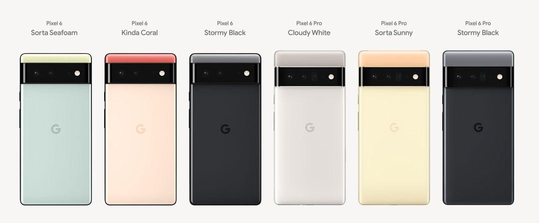 Los colores de los nuevos Google Pixel 6 y Google Pixel 6 Pro