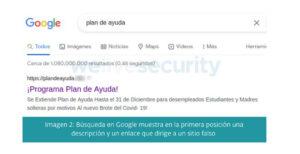Otra prueba encontrada por Eset que demuestra el posicionamiento de sitios maliciosos